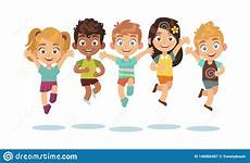 Playing Kids Cartoon Jumping Kids Cartoon Children Playing And Jump Isolated