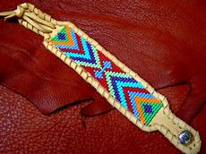 american beadwork deerskin beaded leather bracelet