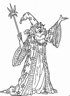 Ausmalbilder Zauberer Und Hexen Zauberer Zaubert 2 Ausmalbild Malvorlage Phantasie