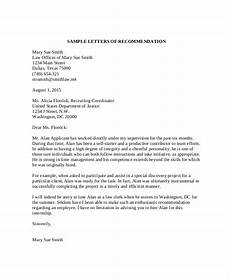 How To Write Law School Letter Of Recommendation Free 11 Sample Recommendation Letter Templates In Pdf