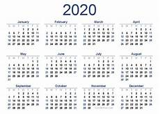 One Year Calendar 2020 Yearly 2020 Calendar With Marked Federal Holidays