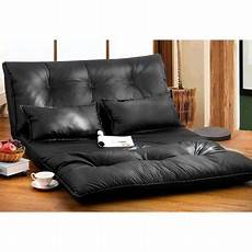 merax pu leather foldable floor sofa bed with two pillows