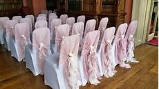 dusky pink wedding ruffles chair cover hood sash for event