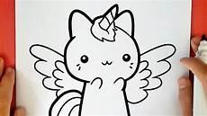 dibujos de gatos como dibujar un gato unicornio kawaii