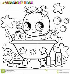 Baby Girl Coloring Pages Baby Girl Taking A Bath Coloring Page Stock Vector Image