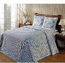 blue oversized chenille bedspread king geometric medallion