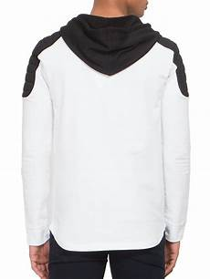 Black And White Designer Hoodie Lyst Balmain Quilted Shoulder Logo Hoodie In White For Men