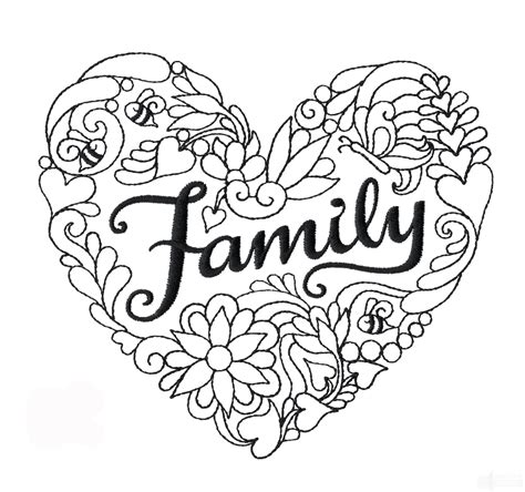 doodle family family heartfelt doodle embroidery design