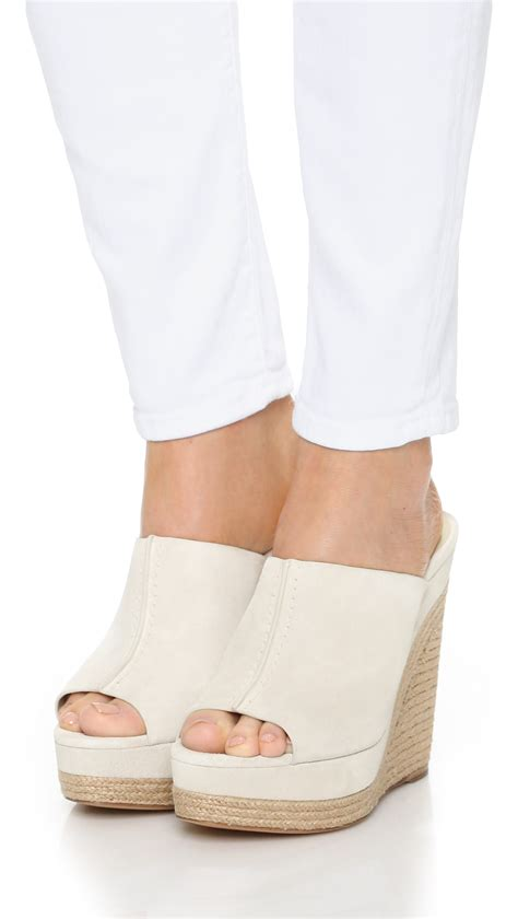 Wedge Mules michael kors charlize suede wedge mules in lyst