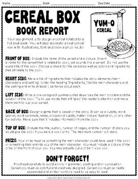 cereal box book report sles cereal box book report directions rubric exle