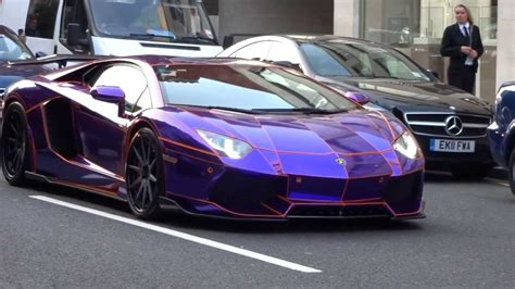 purple ferrari supercars in london 2 purple tron aventador veyron