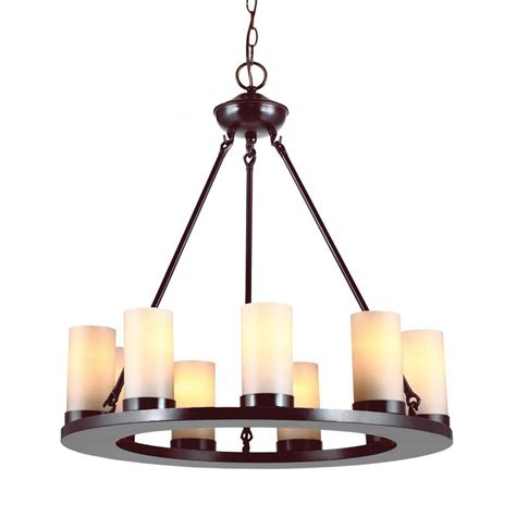 Candle Chandelier shop sea gull lighting ellington 27 in 9 light burnt rustic candle chandelier at lowes