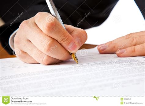 close    businessman hands signing  contract royalty