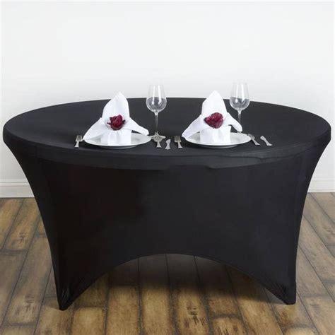 Marcelino Black Ft Katun Strecth Black 5 ft stretch spandex tablecloth restuarant black efavormart