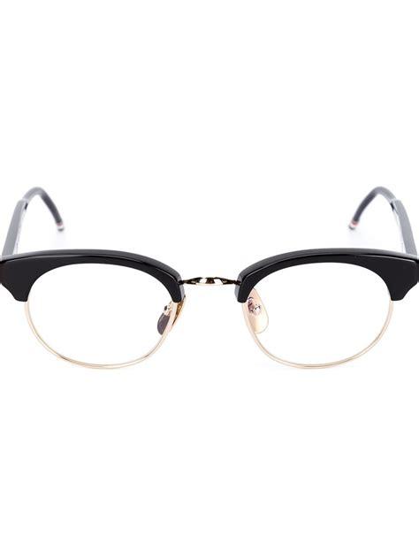thom browne half frame glasses in black for lyst