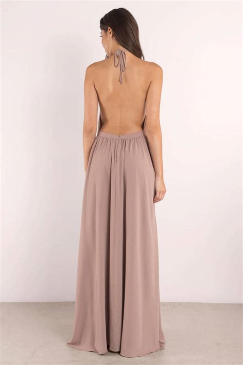 taupe dress backless dress beige sleeveless maxi