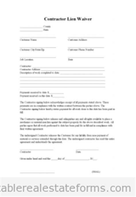 Free Printable Lien Waiver Form Editable Pdf Word Free Lien Release Form Template