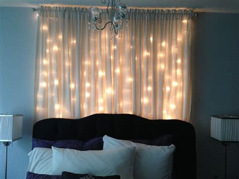 headboard curtains christmas light curtain headboard bedroom ideas pinterest