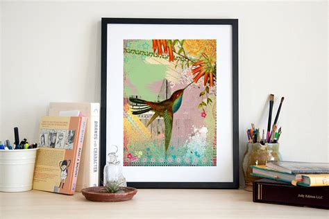 pheasant home decor hummingbird art print bird poster wall art home