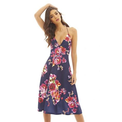 Floral Strappy A Line Dress ax s strappy a line floral midi dress