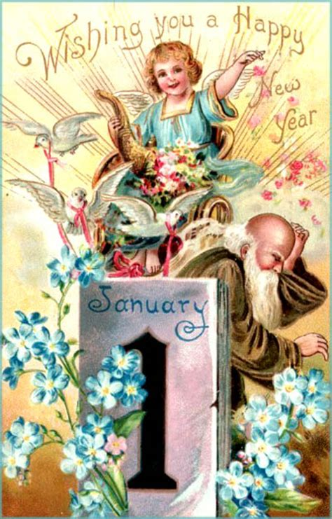 free vintage happy new year greeting cards elves with 22 printable new years cards and sweet poems