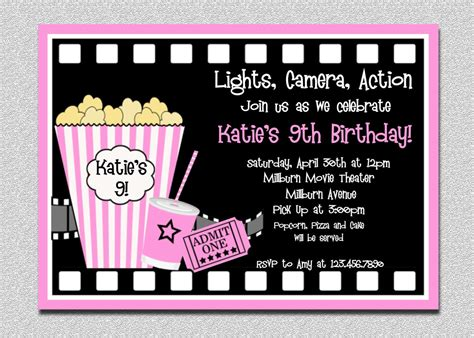 movie birthday invitations pink movie night birthday party