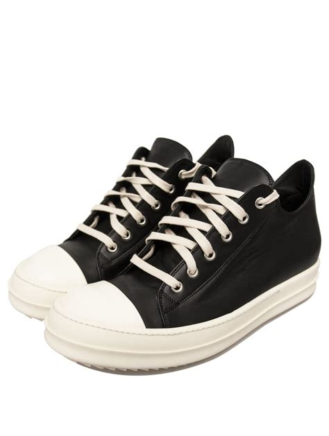 black sneakers rick owens mens leather low sneakers black in black for