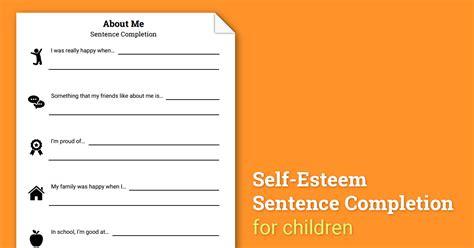 selves in a sentence about me self esteem sentence completion worksheet