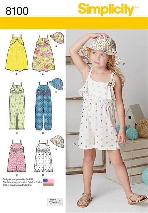 pattern review simplicity simplicity 8100 child s jumpsuit romper dress and hat
