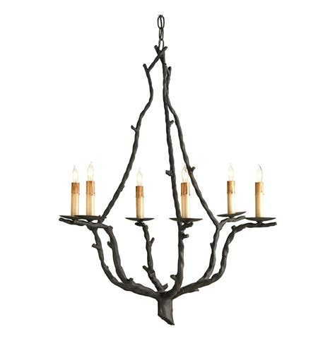 Branch Chandeliers Serendipity Rustic Wrought Iron Branch 6 Light Chandelier Kathy Kuo Home