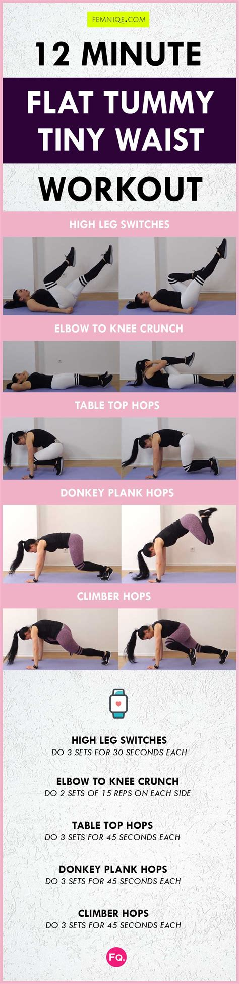 flat tummy exercises 12 minute workout for smaller waist flat belly femniqe