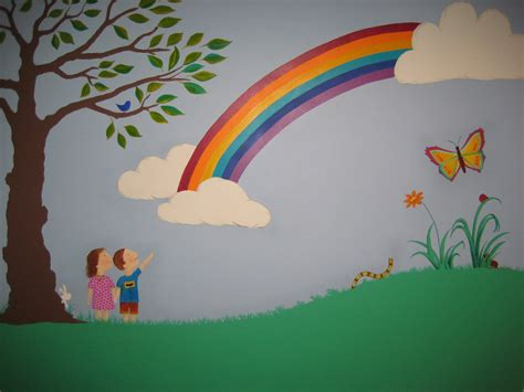 rainbow wall mural crafty our beautiful rainbow wall mural