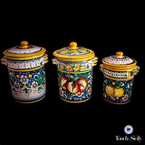 Italian Kitchen Canisters Italian Pottery Canister Set Pattern C Kitchen