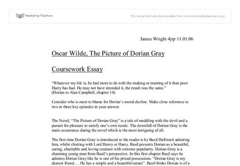 Dorian Gray Essay by Oscar Wilde The Picture Of Dorian Gray Gcse Marked By Teachers