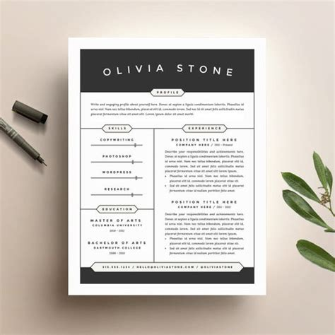 creative resume template and cover letter template for word diy digital modern and