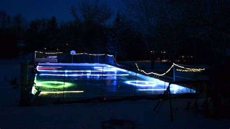 backyard rink lighting led lights frozen in backyard ice rink youtube
