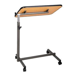 adjustable height tilting top hospital food overbed table tilt top overbed table ebay