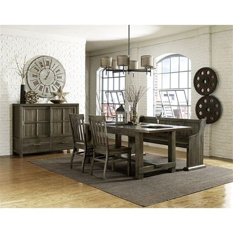 Karlin Wood Rectangular Dining Table Chairs In Grey
