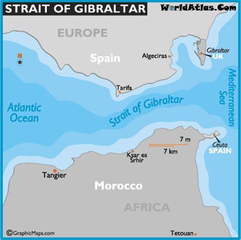 world map gibraltar strait of gibraltar on map