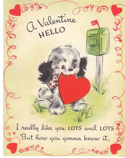 recordable valentines day cards vintage card cocker spaniel at mailbox