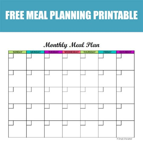 Meal Planning Calendar Template Free