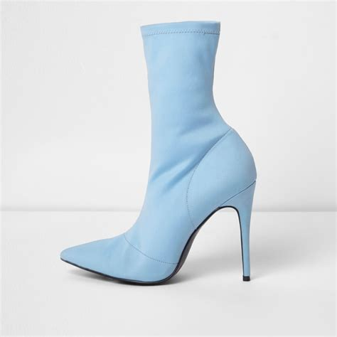 light blue boots light blue pointed scuba stiletto sock boots ri limited