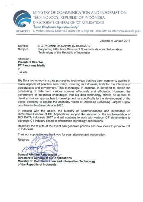 Endorsement Letter For Venue Minister Support Big Data Week Jakarta