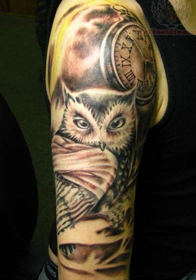 owl tattoo with clock meaning owl tattoo minus the bandage and clock add some light