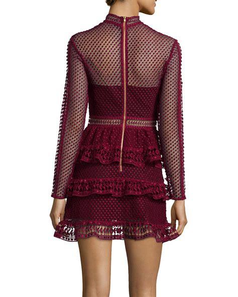 Sleeve Tiered Dress lyst self portrait sleeve tiered lace dress in purple