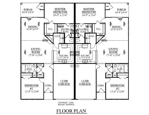 Southern Heritage Home Designs Duplex Plan 1261 B Duplex House Plans