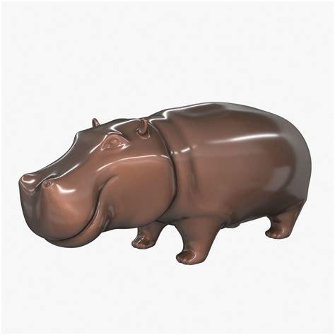 figure 3d model free ceramic figurine hippo 3d model max obj 3ds fbx cgtrader