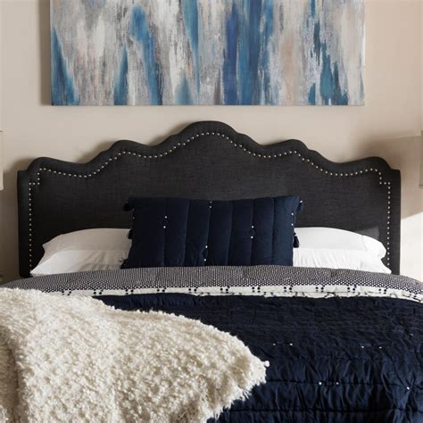 dark gray upholstered headboard baxton studio nadeen dark gray fabric upholstered queen