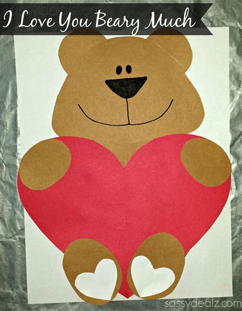 i you this much card template quot i you beary much quot craft for