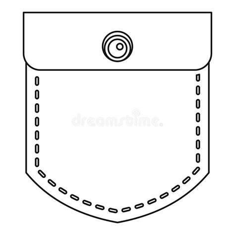 pocket clipart pocket with a button icon outline style stock vector